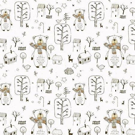 Tecido 100% algodão - Estampa Urso - 0,50 metro