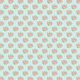 Tecido 100% algodão - Estampa Rosinhas Moldura Damask -  0,50 metro