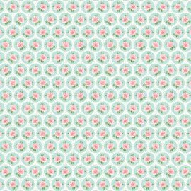 Tecido 100% algodão - Estampa Rosinhas No Circulo -  0,50 metro