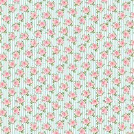 Tecido 100% algodão - Estampa Rosas Em Fundo Listrado -  0,50 metro