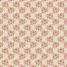 Tecido 100% algodão - Estampa Rosas Grande Em Fundo Creme -  0,50 metro