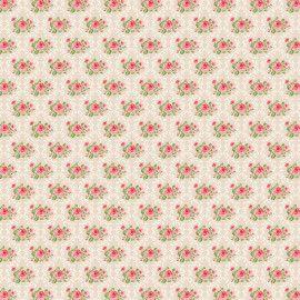 Tecido 100% algodão - Estampa Rosinhas na Moldura Damask Creme  -  0,50 metro