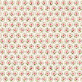 Tecido 100% algodão - Estampa  Rosinhas no Círculo Creme    -  0,50 metro
