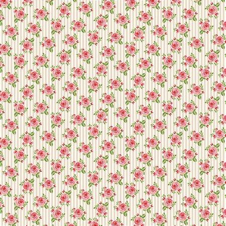 Tecido 100% algodão - Estampa  Rosas em Fundo Listrado Creme      -  0,50 metro