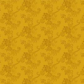 Tecido 100% algodão - Estampa   Flores com Ramos Mostarda      -  0,50 metro