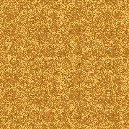 Tecido 100% algodão - Estampa  Renda Mostarda        -  0,50 metro