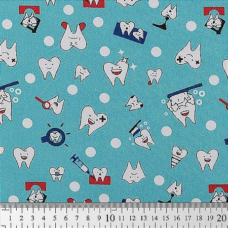 Tecido 100% algodão - Estampa de Dentes    -  0,50 metro