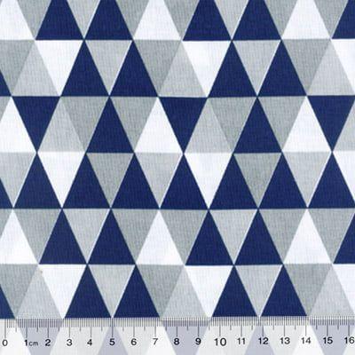 Tecido 100% algodão - Estampa Triangulo Azul Marinho -  0,50 metro