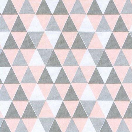 Tecido 100% algodão - Estampa Triangulo Rose -  0,50 metro