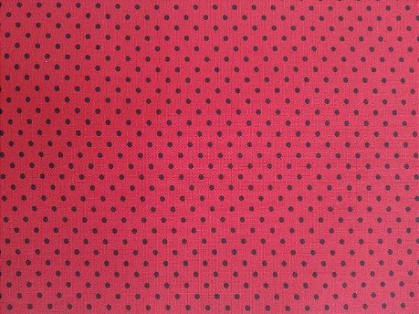 Tecido 100% algodão - Estampa Poá vermelho com Bolinhas Pretas -  0,50 metro