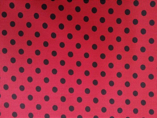 Tecido 100% algodão - Estampa Poá vermelho com Bolas Pretas -  0,50 metro