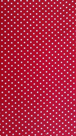 Tecido 100% algodão - Estampa Poá vermelho com Bolinhas Brancas -  0,50 metro