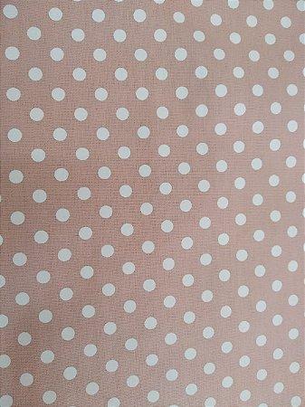 Tecido 100% algodão - Estampa Poá Rose com Bolas Brancas -  0,50 metro