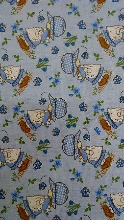 Tecido 100% algodão - Estampa Jardim Azul -  0,50 metro