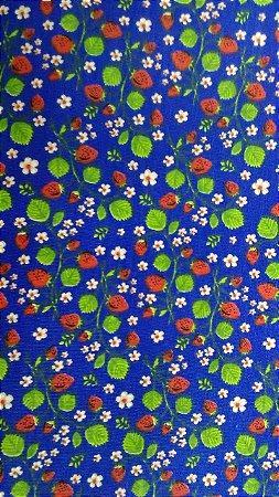 Tecido 100% algodão - Estampa Florzinha Azul Marinho -  0,50 metro