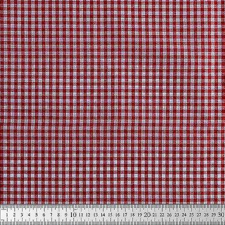 TEcido 100% algodão - Estampa Xadrez Miudo Vermelho -  0,50 metro