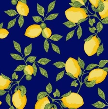 Tecido 100% algodão - Estampa Limão Siciliano Fundo Azul Marinho - 0,50 metro