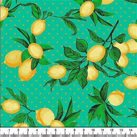 Tecido 100% algodão - Estampa Limão Siciliano Fundo Verde - 0,50 metro