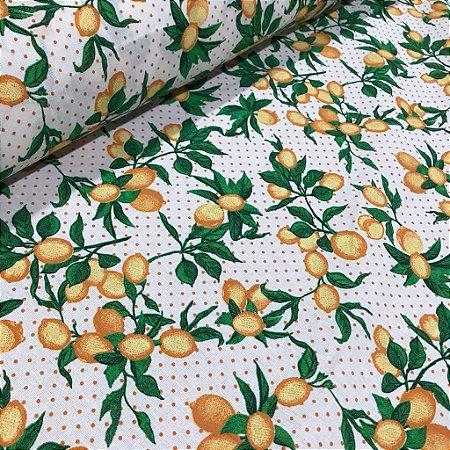 Tecido 100% algodão - Estampa Limão Siciliano Fundo Branco- 0,50 metro