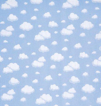Tecido 100% algodão - Estampa Nuvem Fundo Azul - 0,50 metro