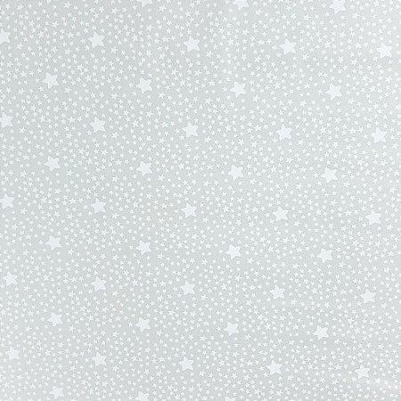 Tecido 100% algodão - Estampa Estrelas Com Póa Fundo Cinza - 0,50 metro