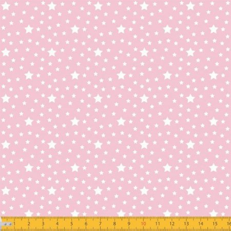 Tecido 100% algodão - Estampa Estrelas Com Póa Fundo Rosa - 0,50 metro