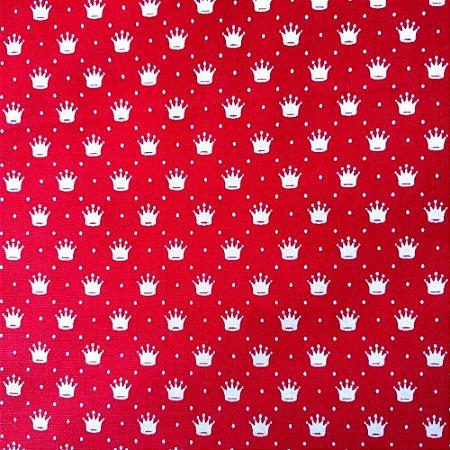 Tecido 100% algodão - Estampa Coroas Brancas Com Fundo Vermelho-  0,50 metro