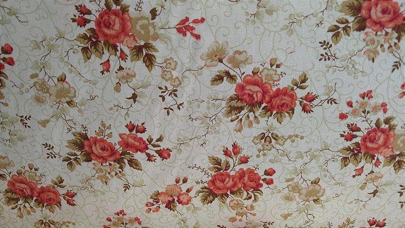 Tecido 100% algodão - Estampa Flores Vermelhas - 0,50 metro