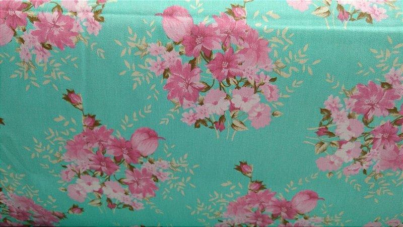 Tecido 100% algodão - Estampa Flores Rosas Com Fundo Verde - 0,50 metro