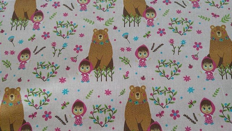 Tecido 100% algodão - Estampa Marsha e Urso Fundo Rosa - 0,50 metro