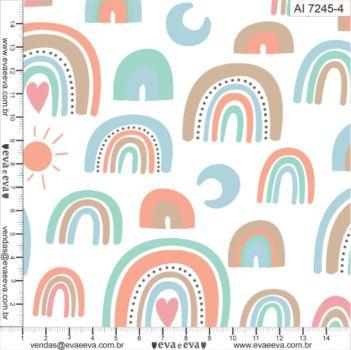 Tecido 100% algodão - Estampa Arco Íris 0,50 metro