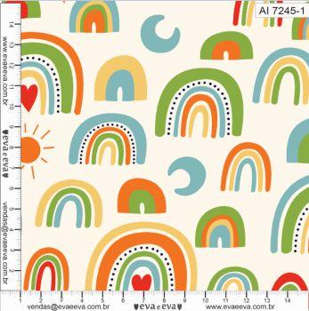 Tecido 100% algodão - Estampa Arco Íris Fundo Claro 0,50 metro