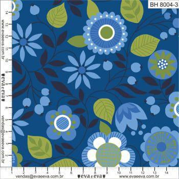 Tecido 100% algodão - Estampa Flores Azuis 0,50 metro