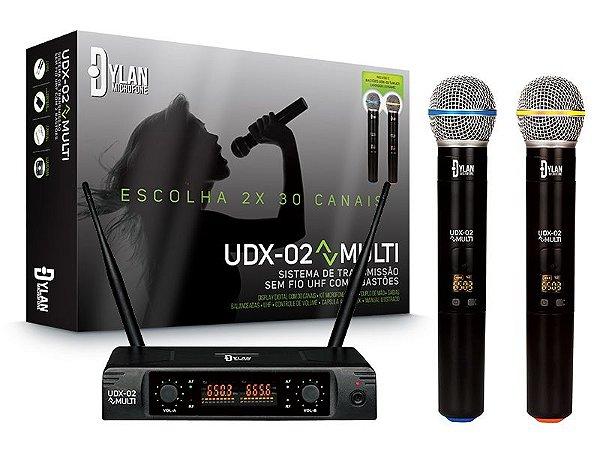 Microfone sem fio de mão Duplo Dylan UDX-02 Digital