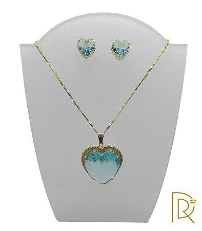 Conjunto Coração Azul Celeste
