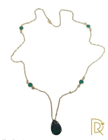 Colar Pedra zirconia esmeralda