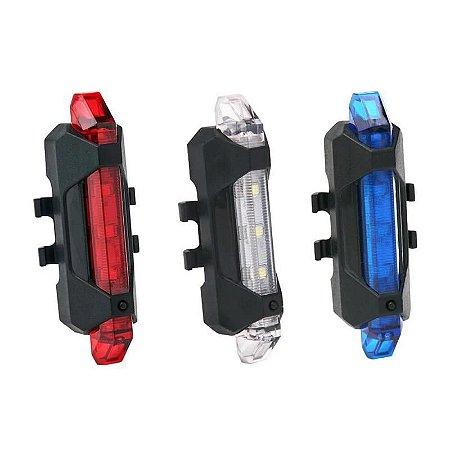 LEDs Recarregáveis Sinalizador Traseiro Bicicleta 5 Leds
