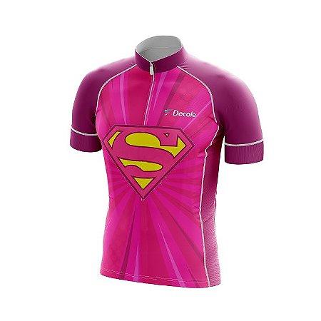 Camisa Infantil Ciclismo Super Girls Uv+ Confortável Dry Fit Respirável