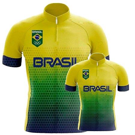 Conjunto Camisa Brasil Pai E Filho Ciclismo Bike Training UV Pro