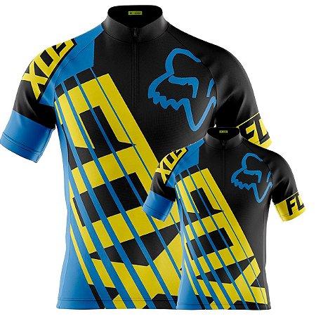 Conjunto Camisa Fox Azul Pai E Filho Ciclismo Bike Treino Mtb