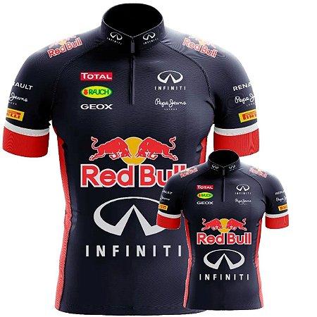 Conjunto Camisa Red Bull Pai e Filho Bike Pro UV Training