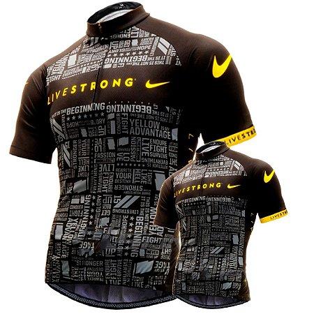 Conjunto Camisa Livestrong 2 Pai E Filho Ciclismo Bike UV Pro Dry Fit