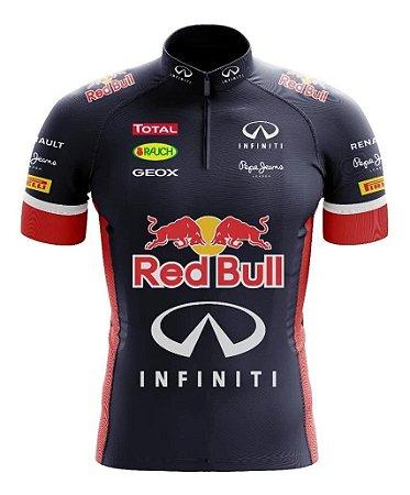 Camisa Red Bull Manga curta Ziper Ciclismo Esportes Dry Fit Mtb