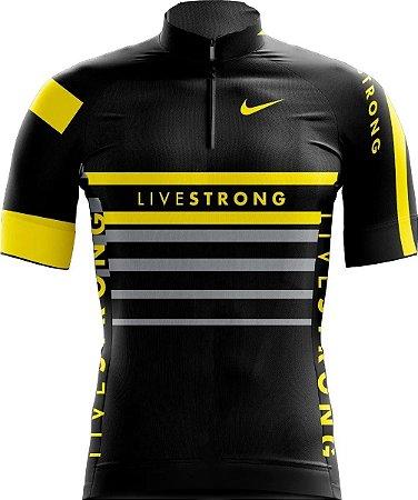 Camisa Manga Curta Livestrong Bicicleta Confortável Ziper