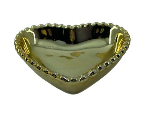Coração Cerâmica M Dourado