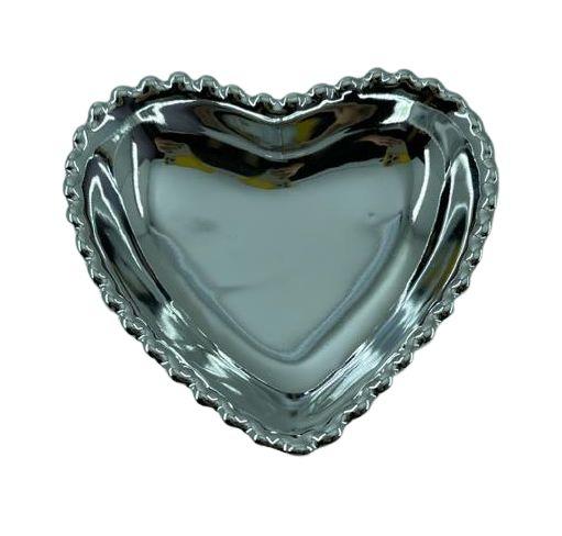 Coração Cerâmica M Prata