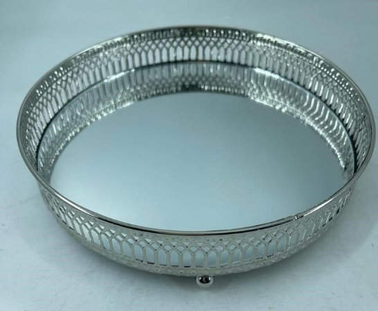 Bandeja Metal Redonda C/ Espelho Prata