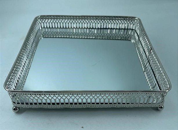 Bandeja Metal Quadrada Prata com Espelho