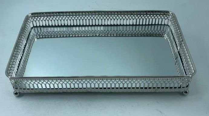 Bandeja Metal Retangular Prata Espelho