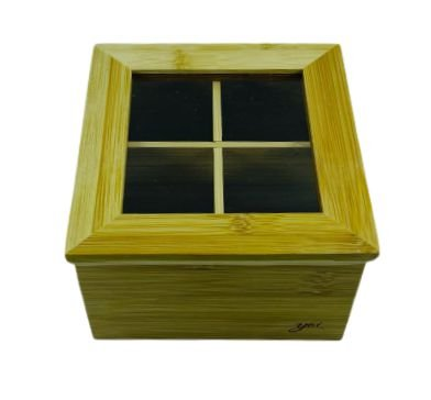 Porta Chá Bambu 4 Divisórias